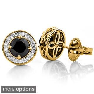 Luxurman 14k Yellow Gold 2.25ct Black Diamond Earrings