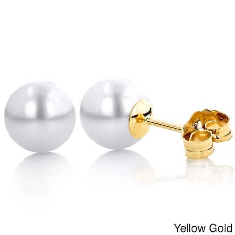 14k Gold White Freshwater Pearl Stud Earrings (5.5-6 mm)