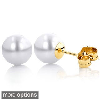 14k Gold White Freshwater Pearl Stud Earrings (5.5-6 mm)
