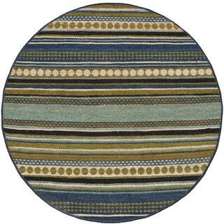 Sindhi Blue Jute Hand-woven Rug (8'' Round)