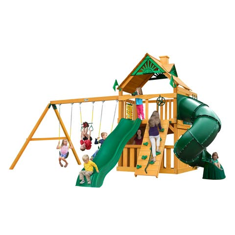 Gorilla Playsets Mountaineer Clubhouse Cedar Swing Set and Natural Cedar Posts