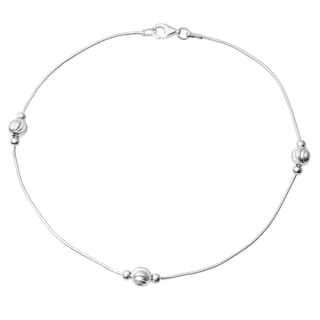 Journee Collection Sterling Silver Beaded Anklet