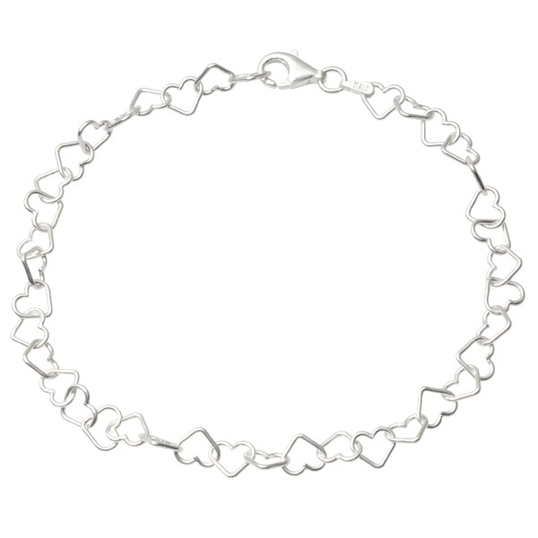 Journee Collection Sterling Silver Heart Anklet