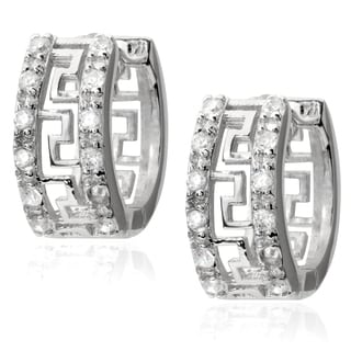 Journee Collection Sterling Silver Cubic Zirconia Greek Key Hoop Earrings
