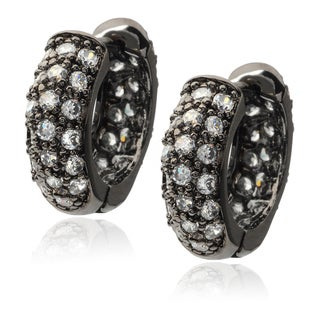 Journee Collection Sterling Silver Gunmetal Cubic Zirconia Hugger Earrings