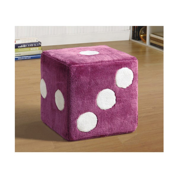 Shop Pink Fuzzy Dice Ottoman Free Shipping Today