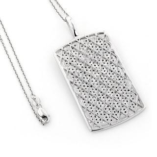 Luxurman 14k Gold 2ct TDW Diamond Pave Dog Tag Necklace (H-I, SI1-SI2)