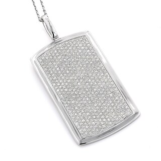 Luxurman 14k Gold 2ct TDW Diamond Pave Dog Tag Necklace