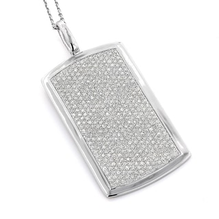 Luxurman 14k Gold 2ct TDW Diamond Pave Dog Tag Necklace (H-I, SI1-SI2)