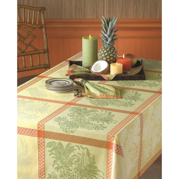 Tommy Bahama Pinele Yellow Cotton Jacquard Tablecloth
