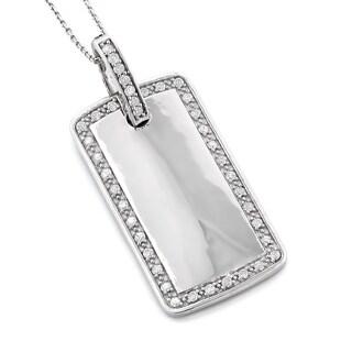 Luxurman 10k Gold 1 1/10ct TDW Diamond Dog Tag Necklace