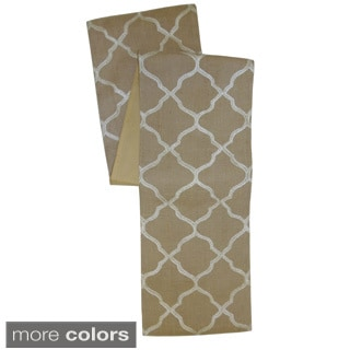 Celebration Tile Embroidered Jute Table Runner