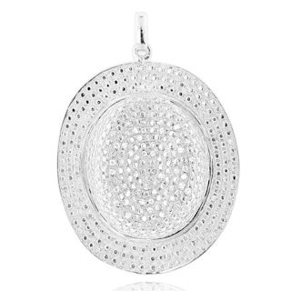 Sterling Silver 1/3ct TDW Pave Diamond Hat Necklace
