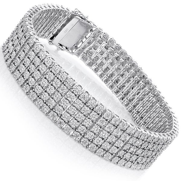 Sterling Silver 4 5ct Tdw 5 Row Pave Diamond Bracelet H I Si1