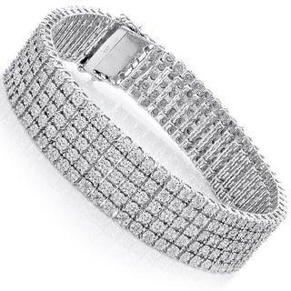Sterling Silver 4 5ct Tdw 5 Row Pave Diamond Bracelet H I Si1 Si2 On Free Shipping Today 9007542