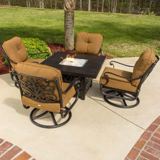 Evangeline 5-Piece Cast Aluminum Seating Set with Swivel Rockers and Gas Fire Pit Table