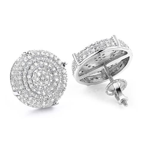 Sterling Silver 3/8ct TDW Pave Diamond Circle Earrings