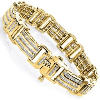 Luxurman 10k Gold Men's 8ct TDW Baguette Diamond Bracelet (H-I, SI1-SI2)