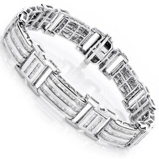 Luxurman 10k Gold Men's 8ct TDW Baguette Diamond Bracelet