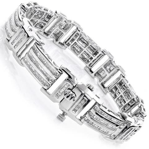 Luxurman 14k or 10k Gold Men's 8ct TDW Baguette Diamond Bracelet