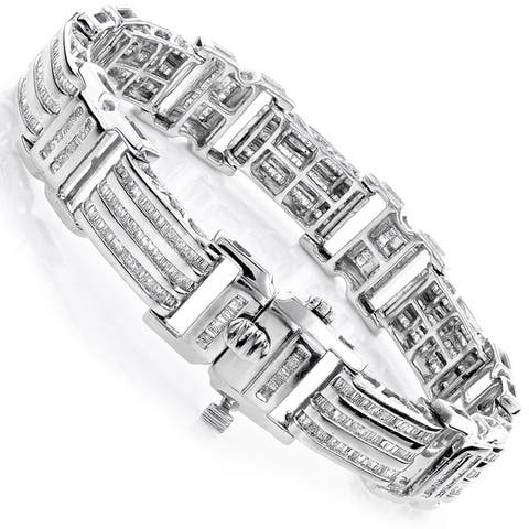 Luxurman 14k or 10k Gold Men's 8ct TDW Baguette Diamond Bracelet