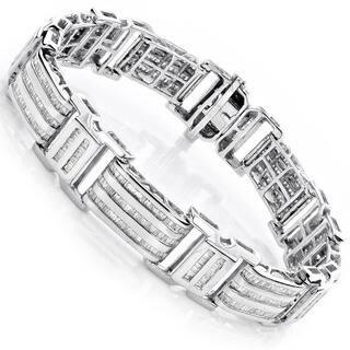 Luxurman 10k Gold Men's 8ct TDW Baguette Diamond Bracelet https://ak1.ostkcdn.com/images/products/9007551/P16210545.jpg?impolicy=medium