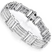 Luxurman 10k Gold Men's 8ct TDW Baguette Diamond Bracelet