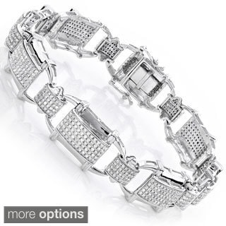 Luxurman 10k Gold Men's 3 1/3ct TDW Diamond Link Bracelet (H-I, SI1-SI2)