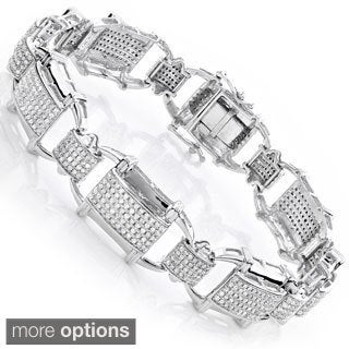 Luxurman 10k Gold Men's 3 1/3ct TDW Diamond Link Bracelet