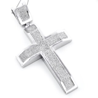 Sterling Silver 2 1/6ct TDW Diamond Micro Pave Cross Necklace