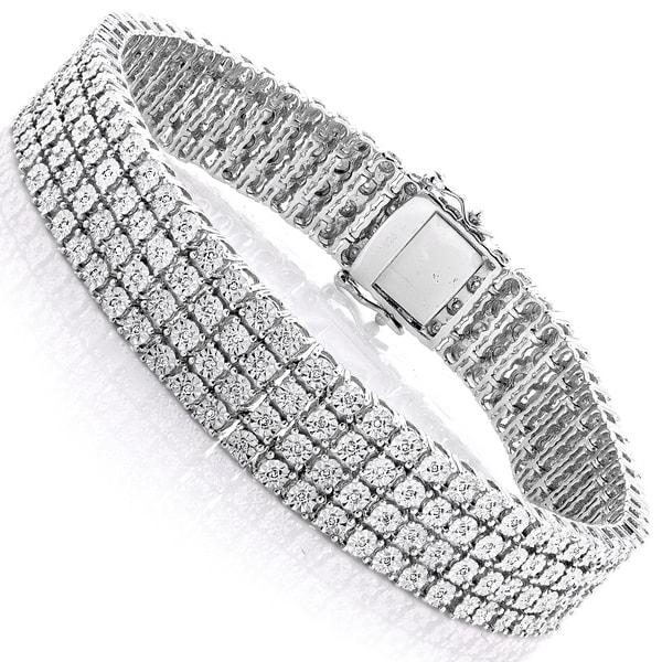 Luxurman Sterling Silver 5/8ct TDW Illusion Set Diamond Triple Row Tennis Bracelet (H-I, SI1-SI2)