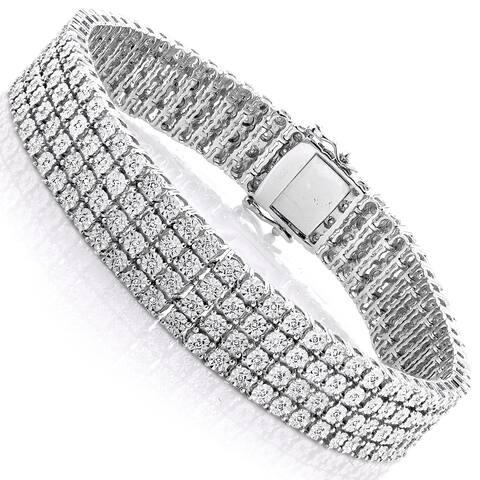 Luxurman Sterling Silver 5/8ct TDW Illusion-set Diamond 4 Row Tennis Bracelet