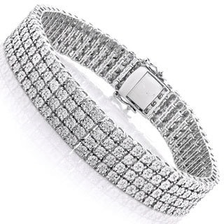 Luxurman Sterling Silver 5/8ct TDW Diamond Triple Row Tennis Bracelet