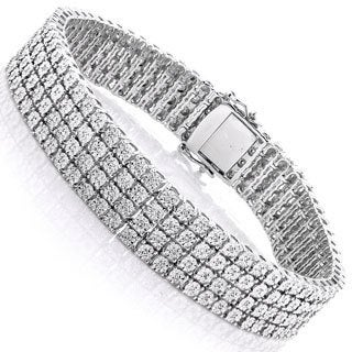 Luxurman Sterling Silver 5/8ct TDW Illusion Set Diamond Triple Row Tennis Bracelet
