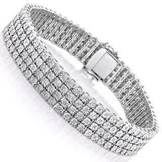 Luxurman Sterling Silver 5/8ct TDW Illusion-set Diamond 4 Row Tennis Bracelet