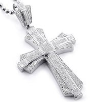 Luxurman 10k gold mens 2 18ct tdw diamond cross pendant free luxurman sterling silver mens 1 16ct tdw diamond cross micro pave necklace h i mozeypictures
