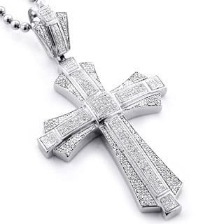 Mens Diamond Pendant Necklace Diamond mens necklaces for less overstock luxurman sterling silver mens 1 16ct tdw diamond cross micro pave necklace h i audiocablefo