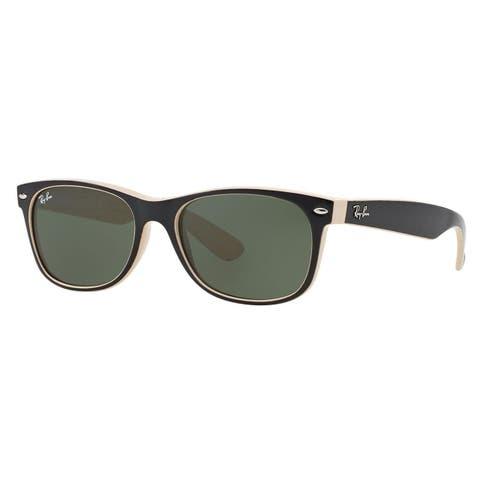 fccf8062a8 Ray-Ban Men s Black on Beige Wayfarer Sunglasses (55 ...