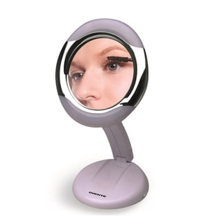Ovente MLT23W Round Foldable Travel and Home Mirror with 1x/3x Magnification