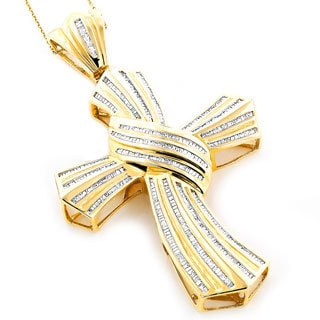 Luxurman 14k Gold Men's 4ct TDW Baguette Diamond Cross Necklace (H-I, I1-I2)