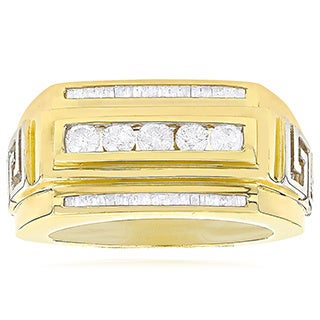 Luxurman 14K Yellow Gold .97ct TDW Mens Baguette Diamond Ring (H-I, SI1-SI2)