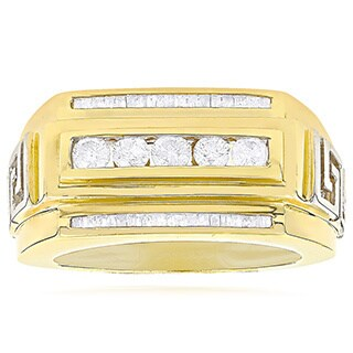 Luxurman 14K Yellow Gold .97ct TDW Mens Baguette Diamond Ring