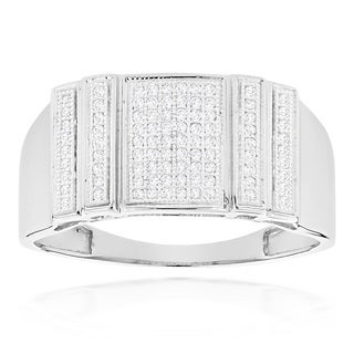 Luxurman 10K Gold 1/3ct TDW Mens Pave Diamond Ring (H-I, SI1-SI2)
