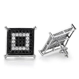Luxurman 14k White Gold 1 1/10 White/ Black Pave Diamond Square Stud Earrings