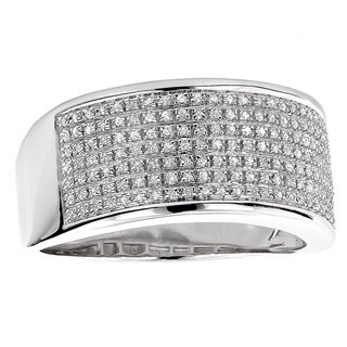 Luxurman Sterling Silver Men's 1/3ct TDW Diamond Wedding Band