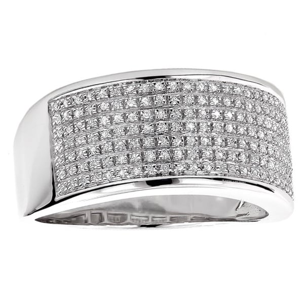 luxurman sterling silver mens 13ct tdw diamond wedding band