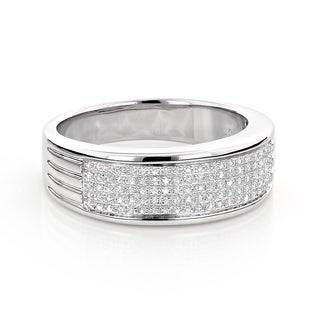 Luxurman Sterling Silver 1/4ct TDW Pave Diamond Men's Band