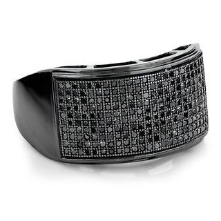 Luxurman 10k Black Gold Men's 3/4ct TDW Pave Black Diamond Ring