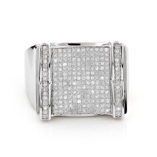 Sterling Silver Men's 1ct TDW Pave Diamond Ring (H-I, SI1-Si2)
