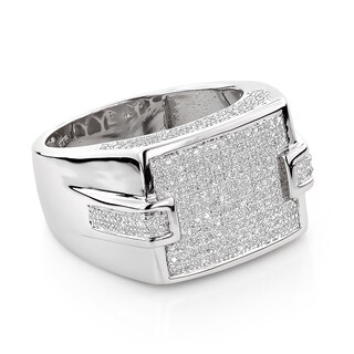 Luxurman Sterling Silver 3/4ct Men's Pave Diamond Ring (H-I, SI3)